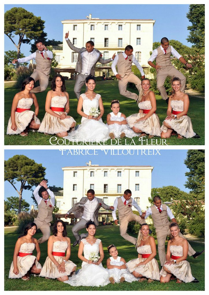 Les mariés, témoins et demoiselles d'honneur
