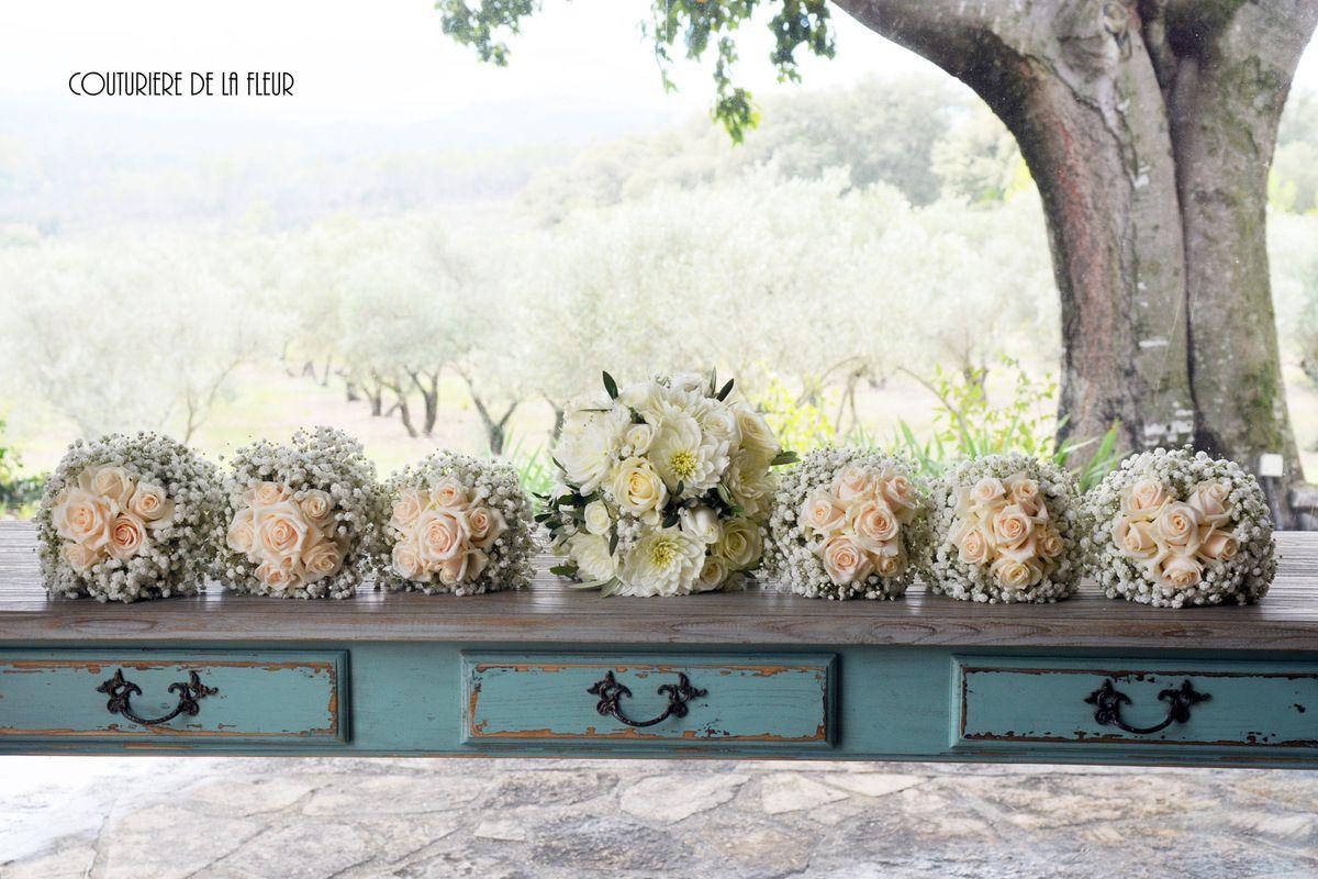 Bouquet de mariée et bouquets de demoiselles d'honneur - Bridal bouquet and bridesmaids bouquets