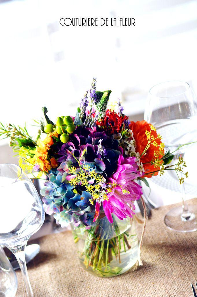 Chardons bleus, dahlias, hortensias, fleur de corail... Blue thistles, dahlias, hydrangeas, coral flower ...