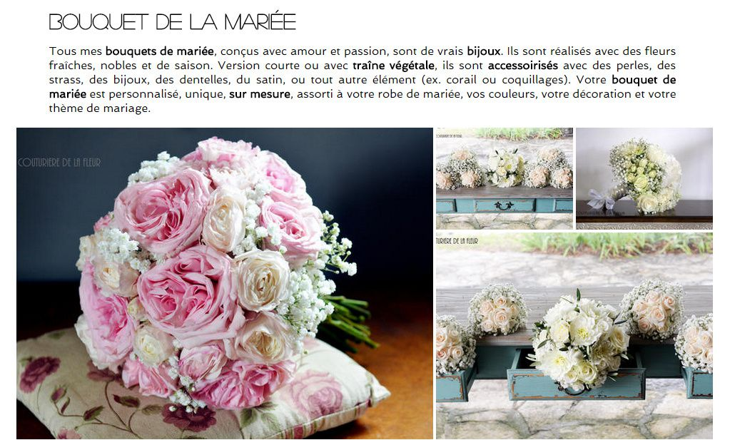 Une page dédié au mariage... Ici aperçu de l'onglet dédié aux bouquets de mariée