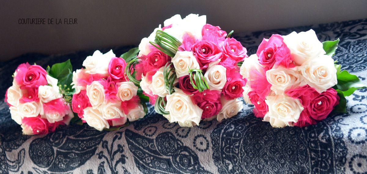 Bouquet de la Mariée Champagne et Fuchsia, accompagné des bouquets de demoiselles d'honneur