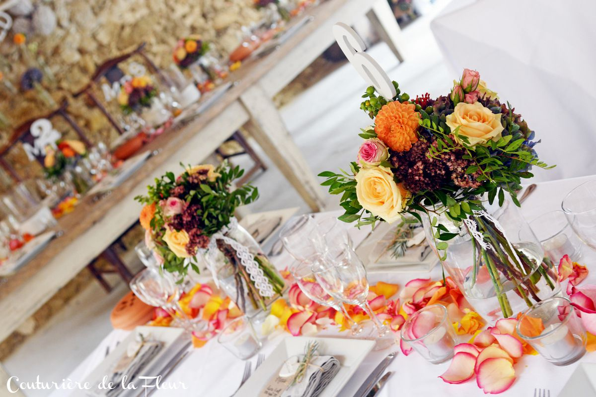 Décoration des tables en banquet - Banquet decoration wedding tables