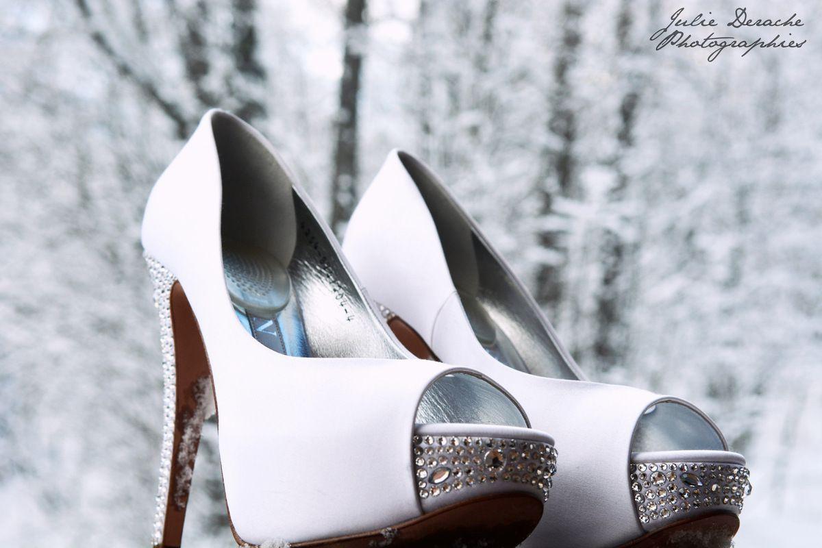 Bouquet et chaussures de la mariée