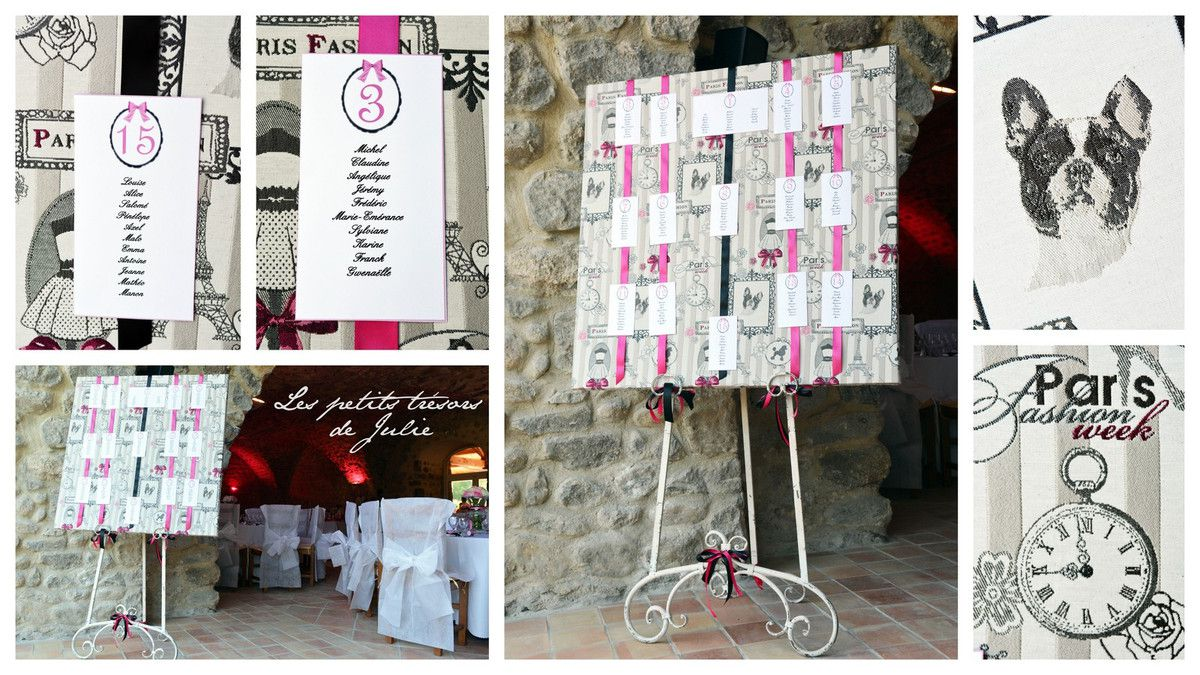 Cartons Plan de Tables Ambiance Boudoir