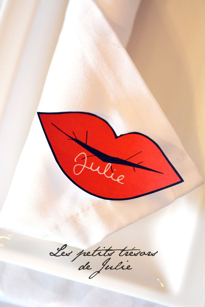 Marque-place bouche, mariage glam'chic