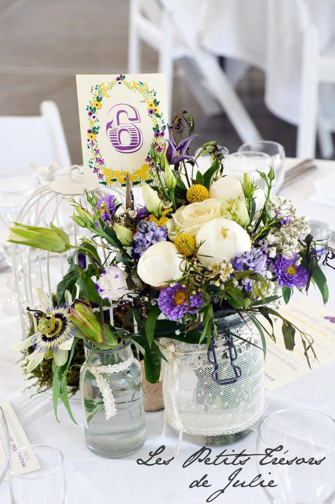 Numéros de tables Vintage Jaune & Violet