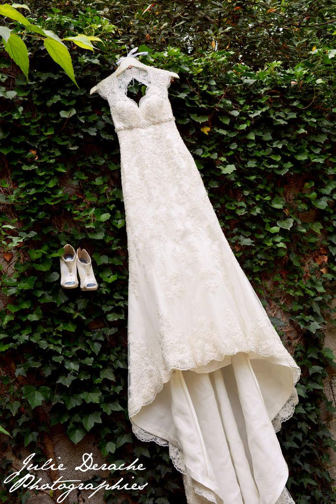 Bridal dress signed Maggie Sottero, bridal shoes, bridal jewelry, wedding rings