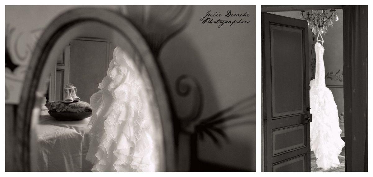 Les atours de la mariée : robe de mariée, jolies chaussures Repetto et coussin porte-alliance réalisé par Couturière de la Fleur dans un vieil album de photos de famille