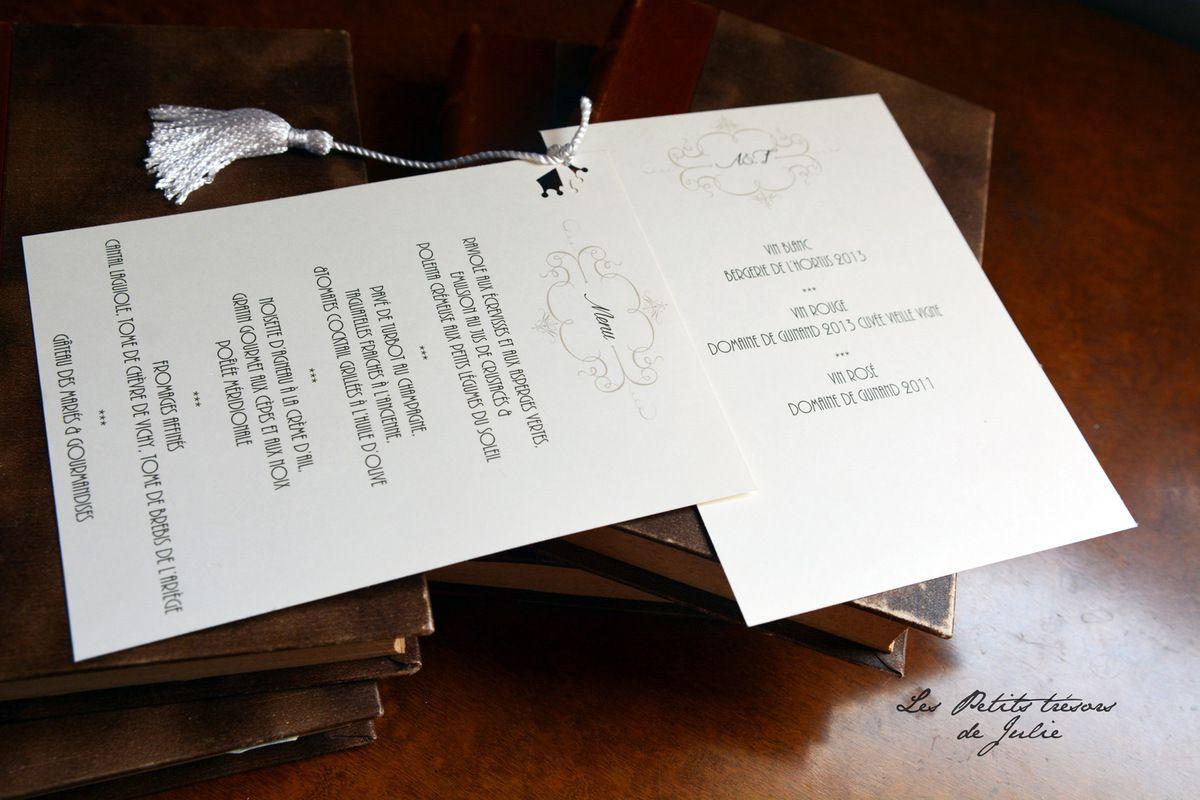 Menus Mariage thème Livres - Marques-pages