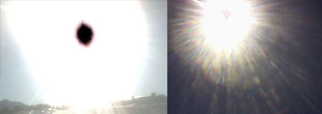 La tache noire ou diversement colorée est un artéfact qui apparait au milieu de la photo du soleil prise avec certains APN, téléphones ou webcams.