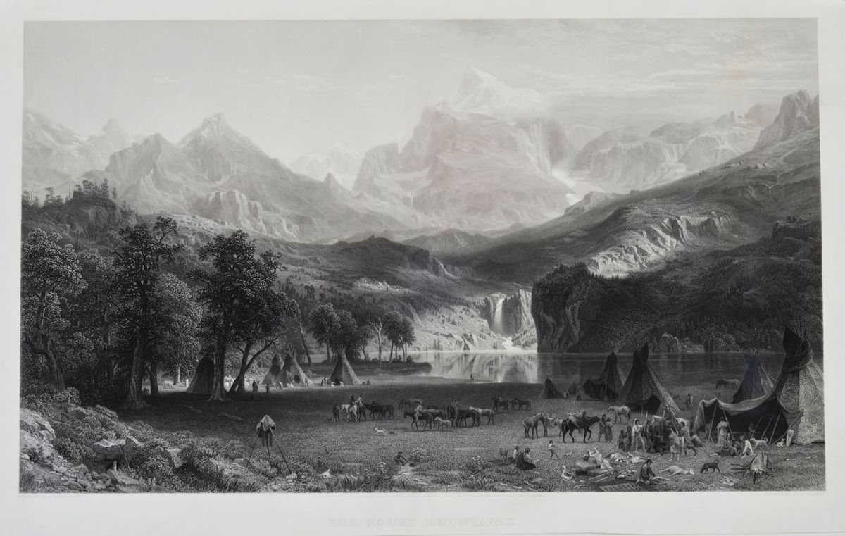 """the Rocky Mountains"". 1866, une gravure de James Smillie."