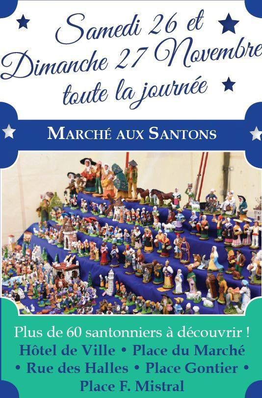 Incontournable !  Le marché aux santons de Tarascon est devenu une référence pour tous les amateurs des traditions de Noël en Provence ! Cette année encore, plus de 60 santonniers vous attendent pour vous faire découvrir, durant tout le week-end du 26 et 27 novembre, leurs plus belles créations.  Rendez-vous donc tout au long de ces deux journées dans les lieux emblématiques de la ville : l'hôtel de ville, la place du marché, la rue des halles, la place Gontier et place Mistral.
