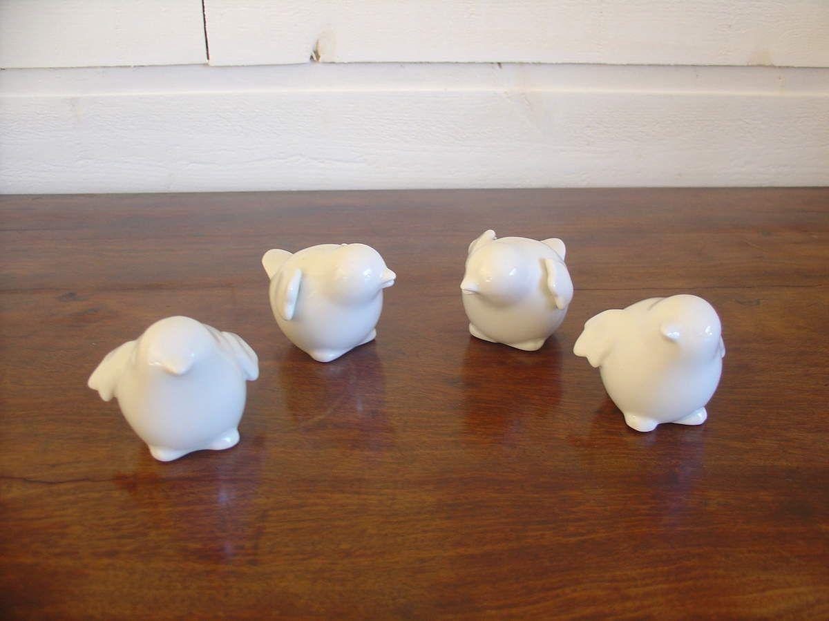 Set de 4 oiseaux en porcelaine