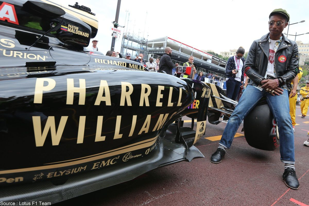 Lotus - Pharrell Williams a disposé d'une visibilité maximale à Monaco