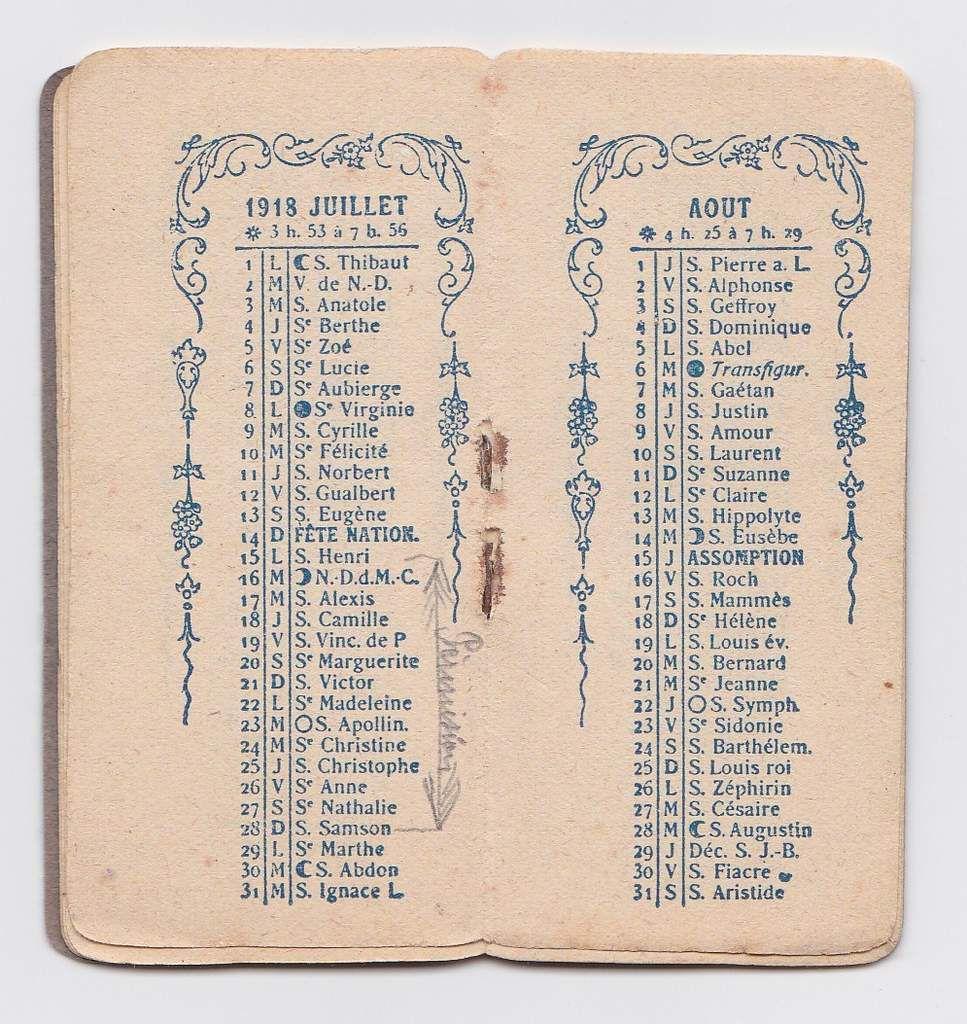 Un calendrier de poche de 1918
