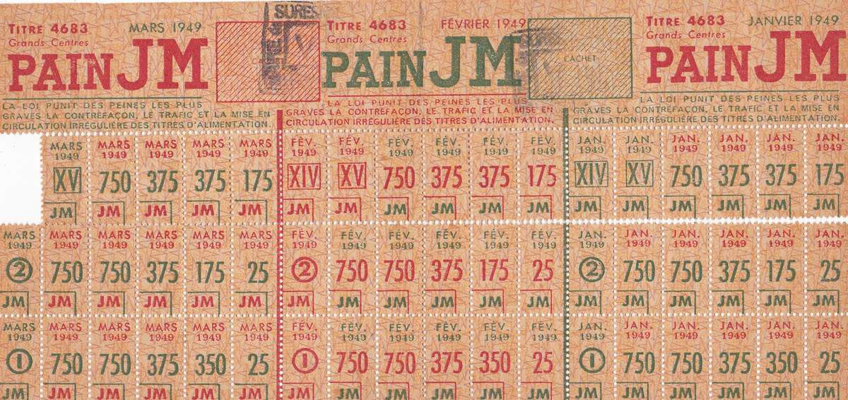 Tickets de pain 1949. Coll. J.Nicole