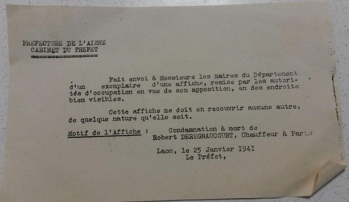 Avis d'exécution de Robert Deregnecourt (1917-1941) à afficher.