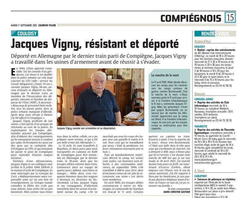 Article du Courrier Picard du 1er Septembre 2015