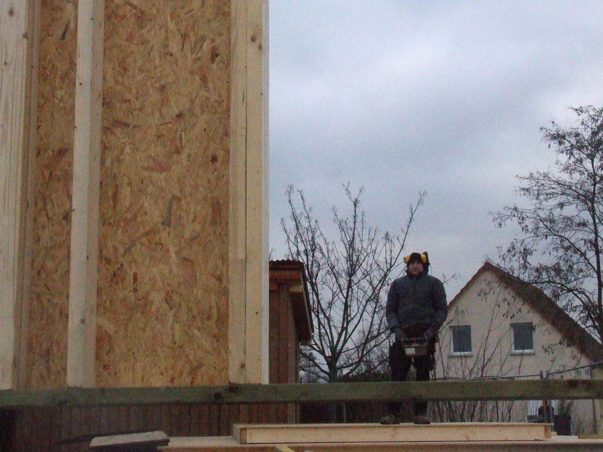 Taillage assemblage et levage de la structure bois for Osb exterieur pluie
