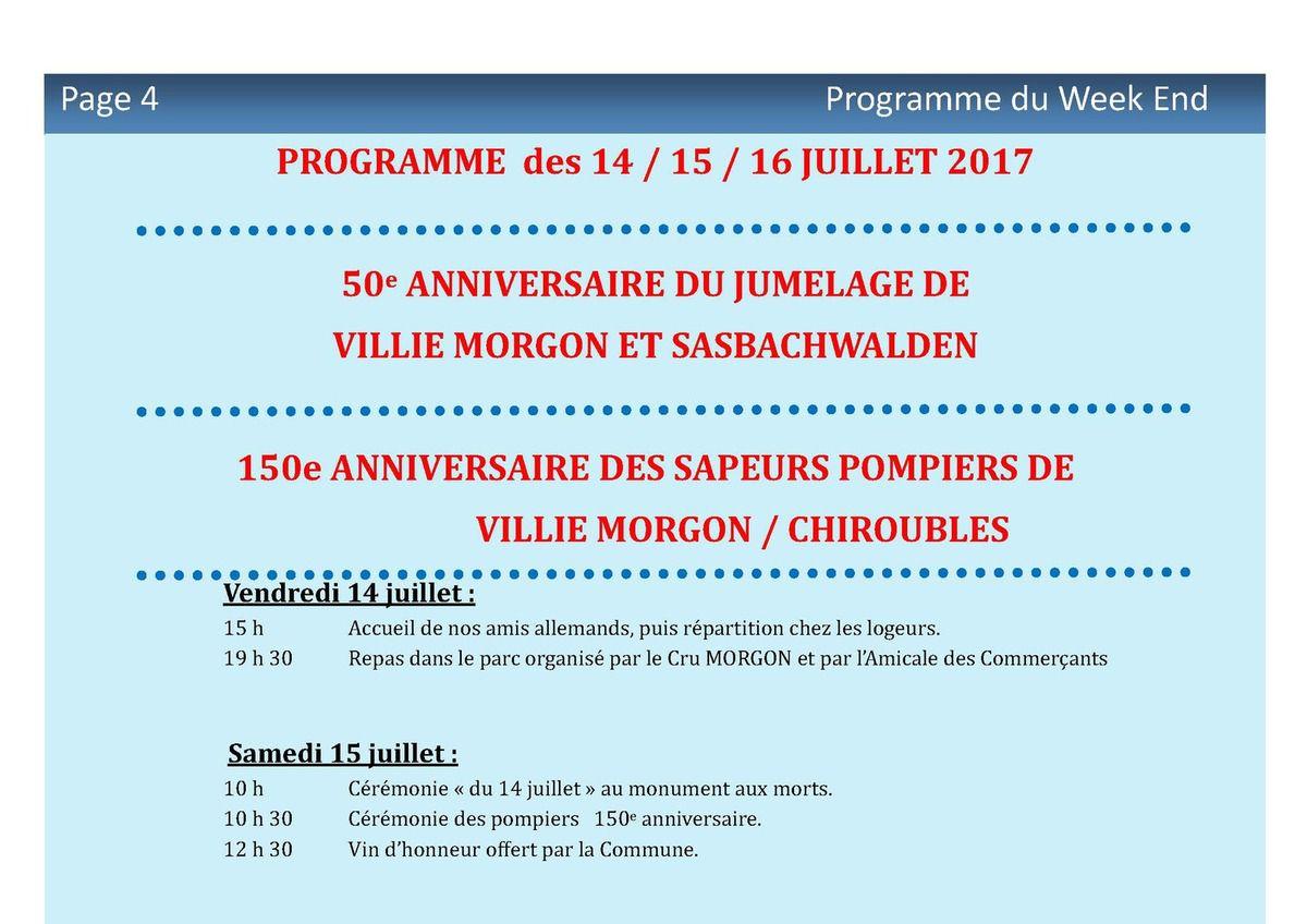 Programme des 14/15/16 Juillet 2017