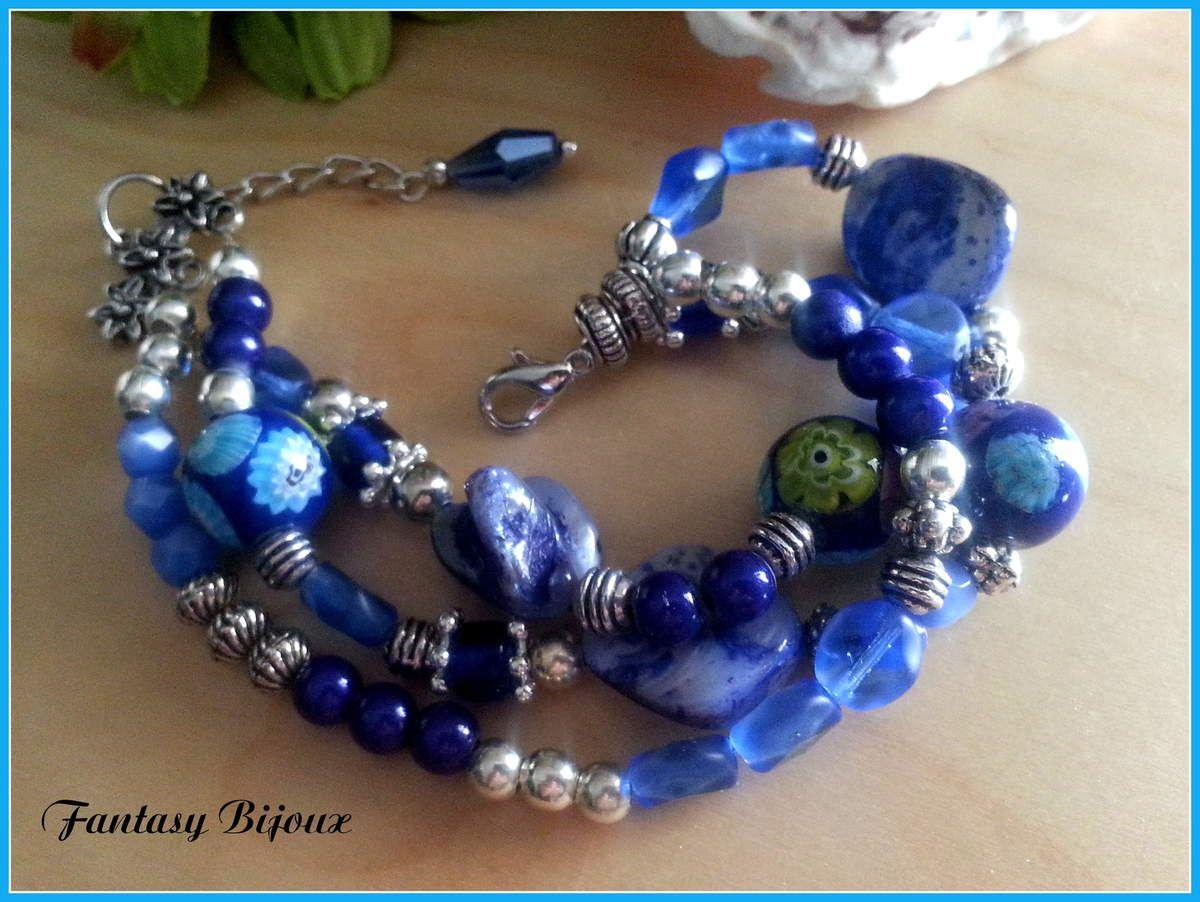 Un joli trio de bleus pour ce bracelet.