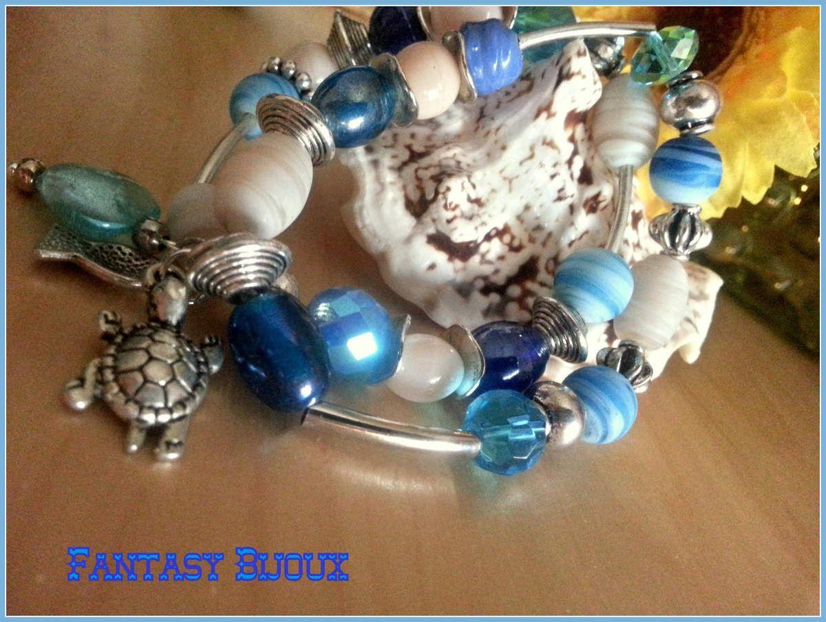 Bracelet bord de mer , blanc et bleu.