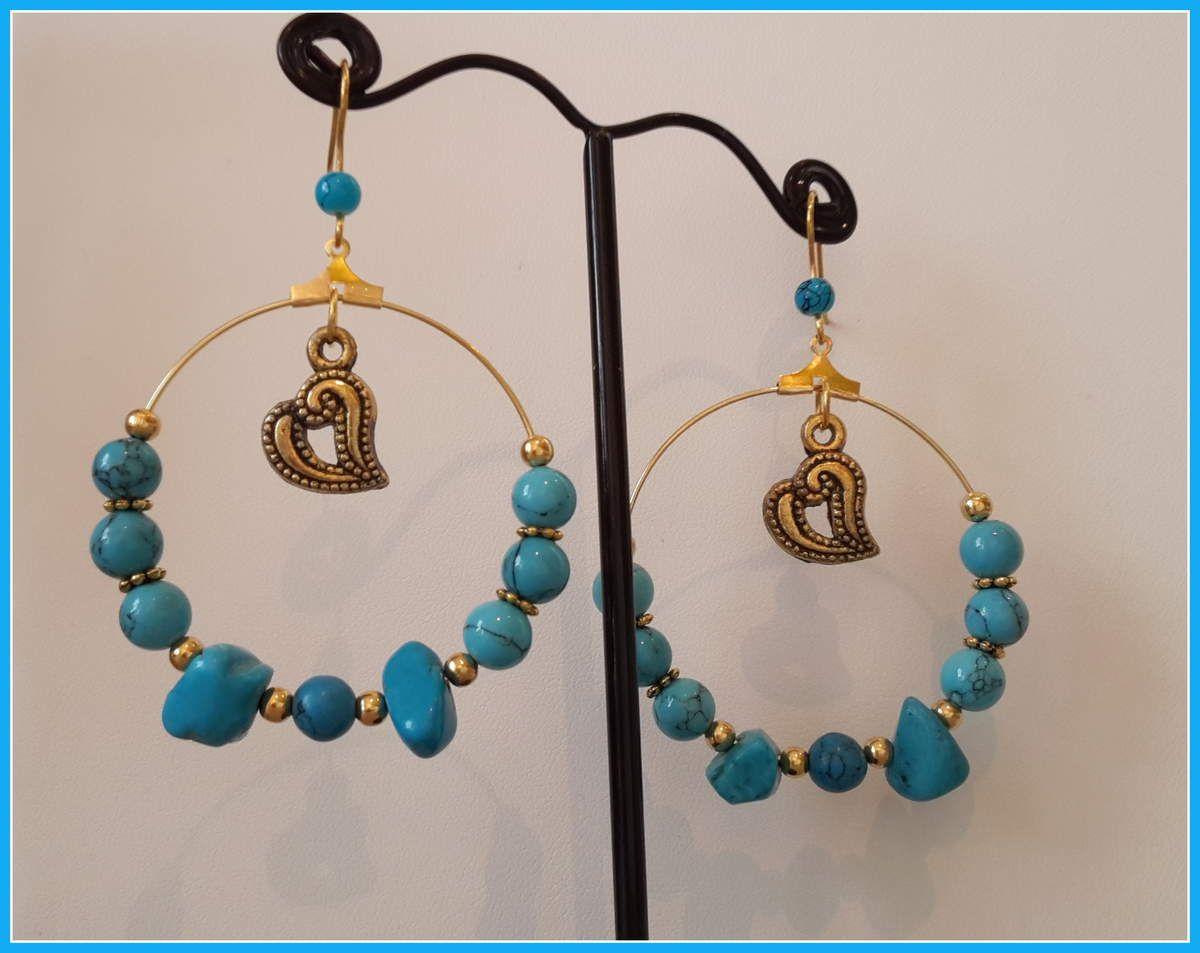 Créoles métal doré , et perles en Turquoise , 8 cm
