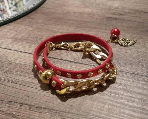 Bracelet double rouge et or