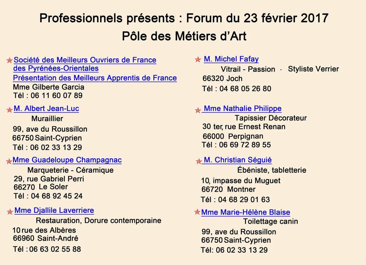 Le flyer des métiers d'art pour le forum.