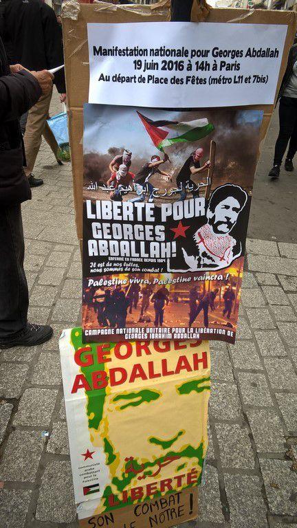 Marché de St Denis - La mobilisation pour Georges Abdallah continue
