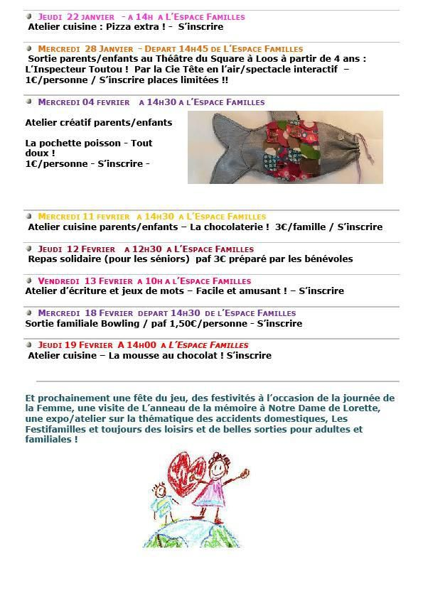 Programme d'activités Janvier/Février 2015 et vacances!
