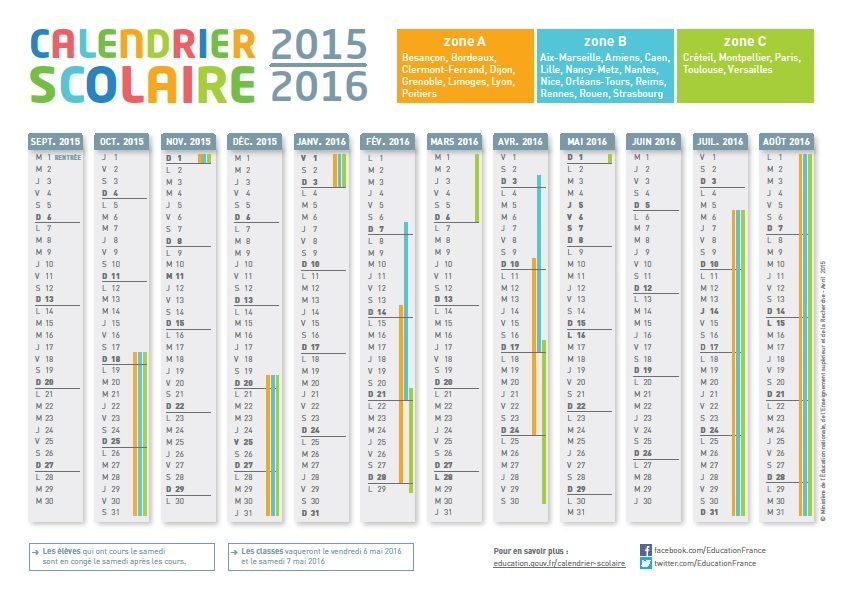 familles scolaire calendrier