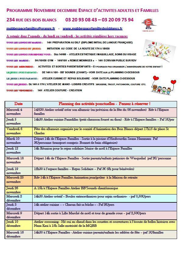 Les activités pour tous Novembre Décembre 2015