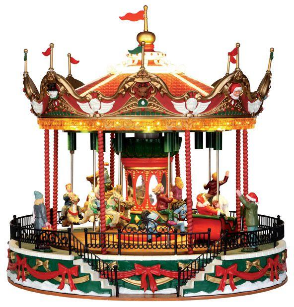 Carrousels musicaux miniatures Mr Christmas et Lemax