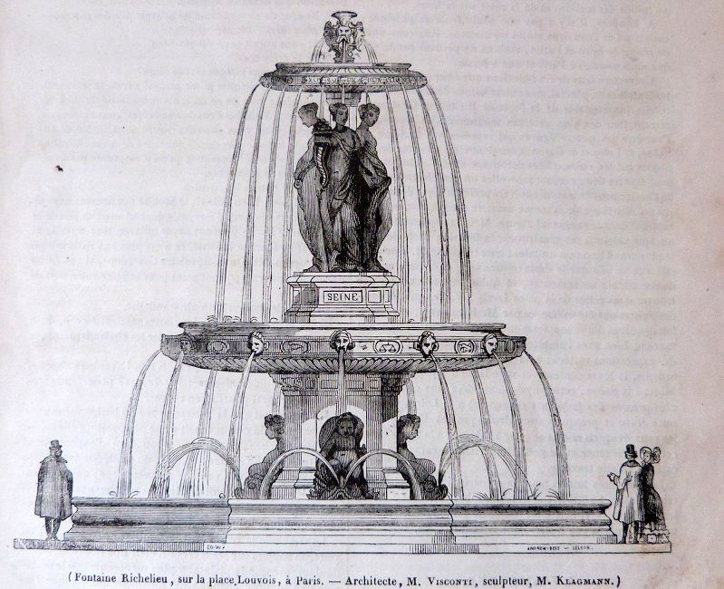 la fontaine Richelieu à Paris, rue Louvois - Architecte M. Visconti, sculpteur M. Klagmann - (le magasin pittoresque - janvier 1840)