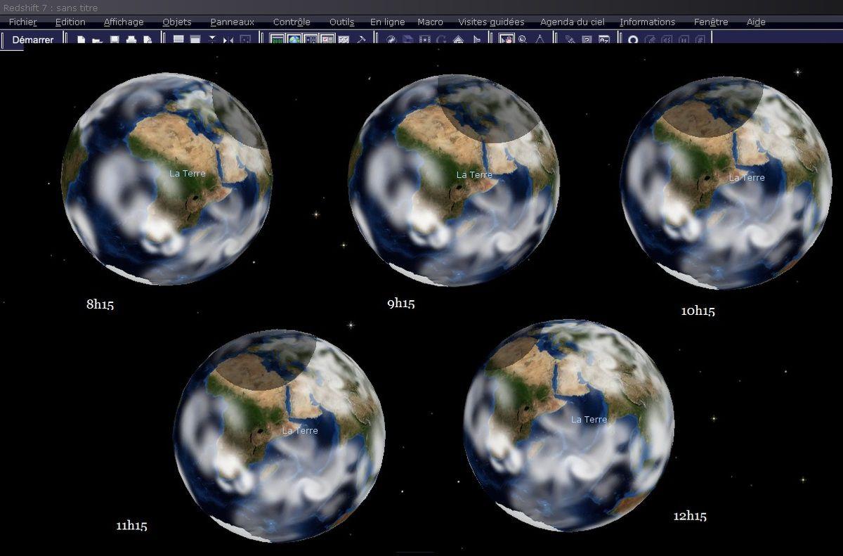 L'éclipse du 20 mars 2015 vue du pôle nord de la Lune.