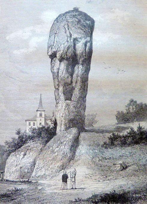 Cliquer pour voir la massue d'Hercule à Ojkow en Pologne - gravure parue dans le magasin pittoresque de juillet 1878.