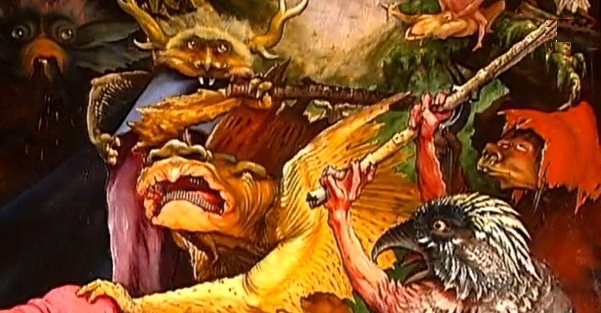 """""""CLIC"""" pour voir les monstres (détails du retable d'Issenheim au musée Unterlinden à Colmar) - artiste Matthias Grünewald."""