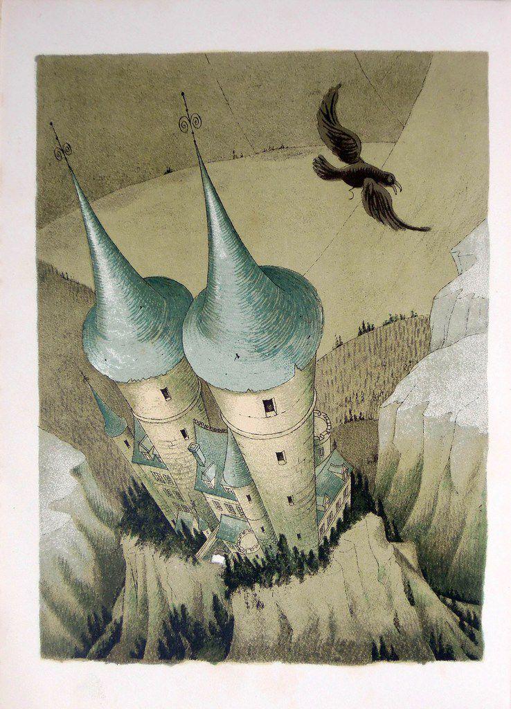 """Illustration de Albert Dubout pour """"la chute de la maison Usher"""" d'E. Poe. - """"clic"""" pour voir une bande annonce du film."""