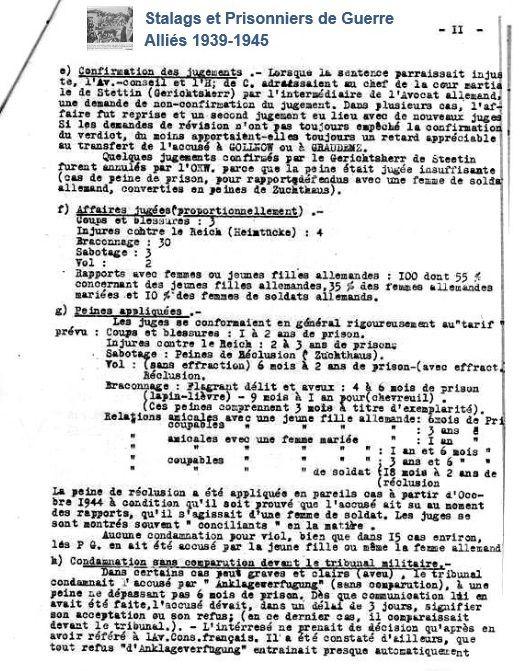 Extrait d'un article publié dans facebook par Stalags et prisonniers de guerre 1939 - 1945 - tribunal de Stettin - jugements et peines encourues par les prisonniers français et belges.
