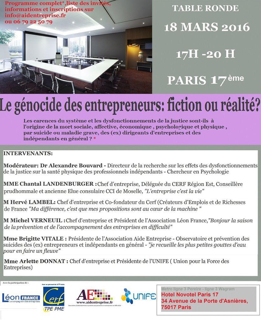 """Invitation Table Ronde PARIS 17ème_18 mars 2016_17h/20h _""""Génocide des Entrepreneurs: fiction ou réalité?"""""""