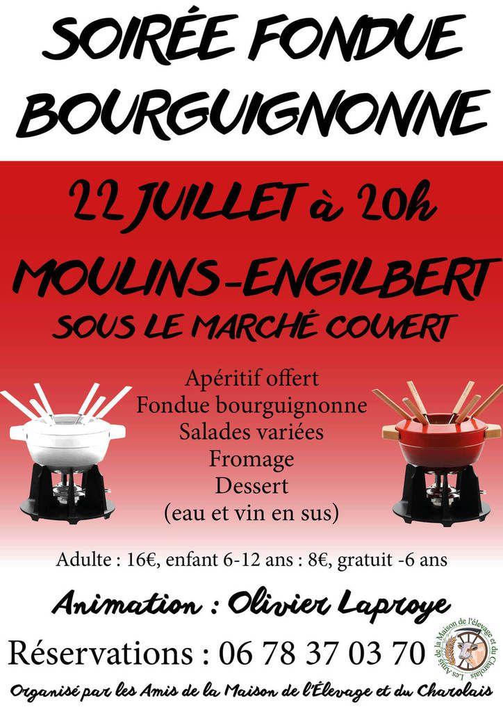 Venez nombreux passer un moment convivial et dégustez de la viande charolaise lors de la soirée fondue bourguignonne animé par Olivier LAPROYE