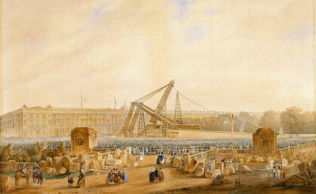 Erection de l'Obélisque de Louxor,25 octobre 1836, détails, aquarelle. Cayrac, 1837.