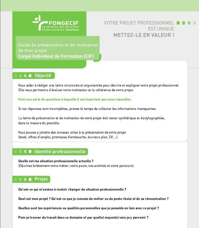 Exemple Lettre De Motivation Fongecif Reconversion: Modele Lettre De Motivation Pour Formation Fongecif