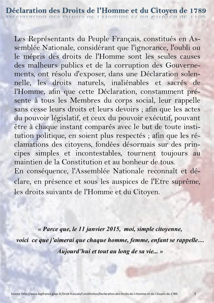 La déclaration des droits de l'Homme  et photo Source Charlie Hebdo (FaceBook)
