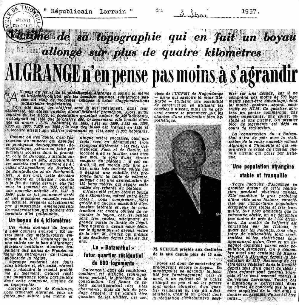 Article du républicain Lorrain du 3 mai 1957