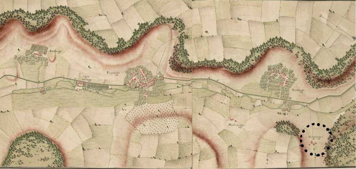 On peut y voir que Knutange était déjà une ville beaucoup plus évoluée que le village d'Algrange qui était retiré de la route militaire.....