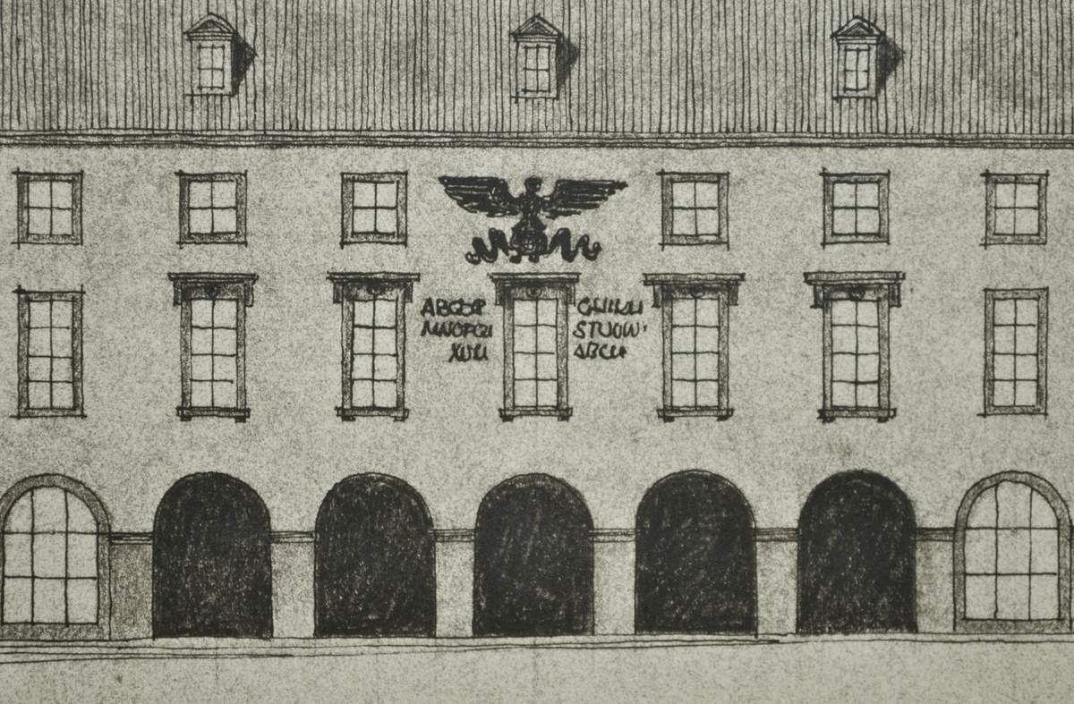 Projet pour la place du marché (de la République) à Algrange en 1940