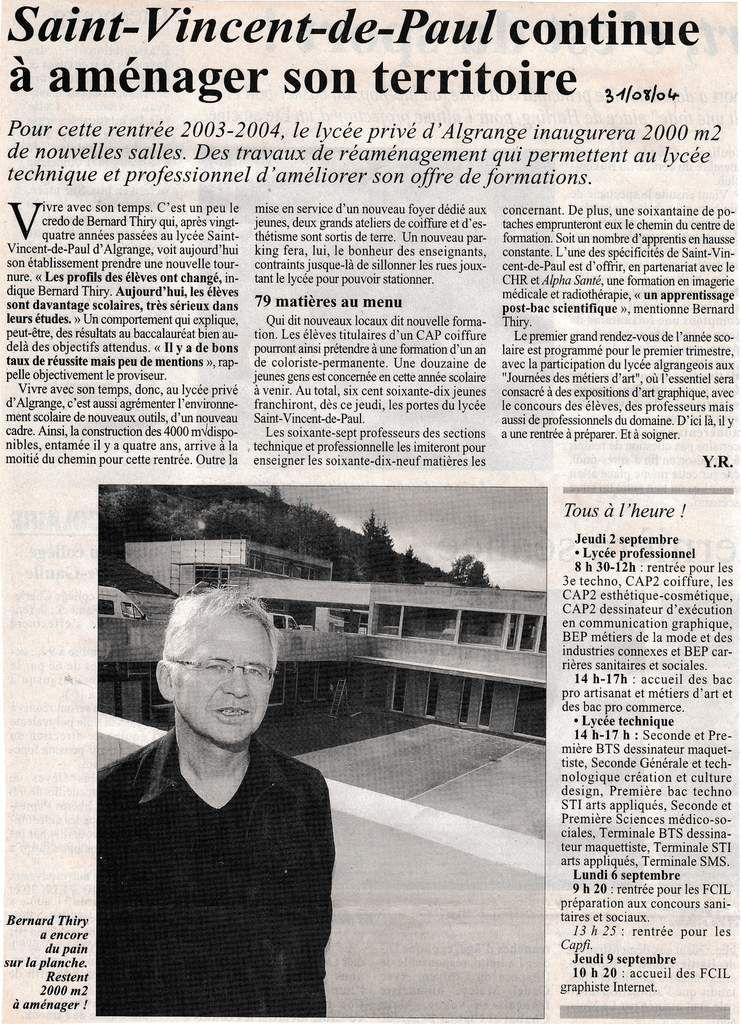 Rentrée 2004 au L.E.P. Saint Vincent de Paul à Algrange