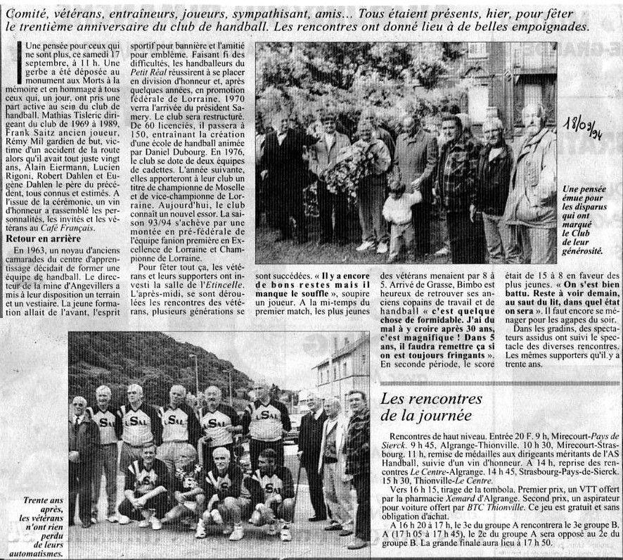 ALGRANGE: Les 30 ans du club de handball algrangeois